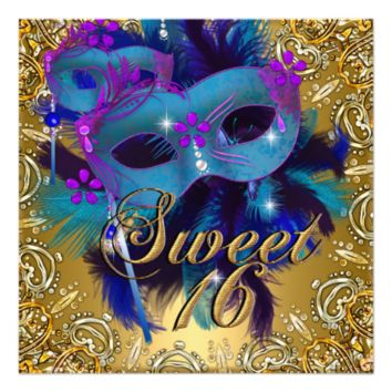 Sweet Sixteen 16 Masquerade Blue Gold Purple 5.25x5.25 Square Paper Invitation Card