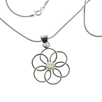 925 Sterling Silver Necklace - Handmade Rainbow Moonstone Flower Pendant Necklace