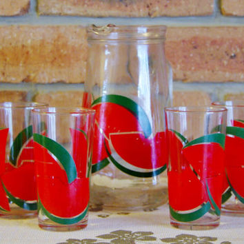 Glass water jug or pitcher 4 matching glasses watermelon fruit motif 1960s