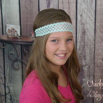 Mint Snowflake Lace headband