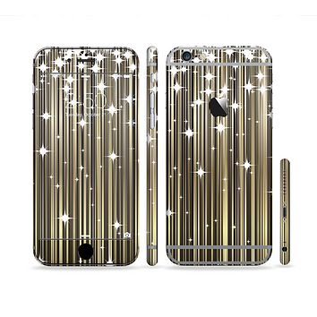 The Gold & White Shimmer Strips Sectioned Skin Series for the Apple iPhone 6/6s Plus