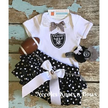 Girls Oakland Raiders Outfit, Baby Girls Raiders Football Outfit, Coming Home Outfit