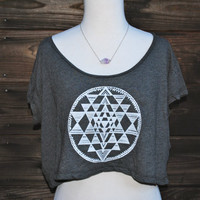 Sri Yantra Sacred Geometry Yoga Loose Crop Top  by GrizzyLove