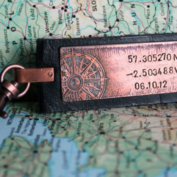 Co-ordinate Location Keyring Longitude Latitude Leather Cuff Date