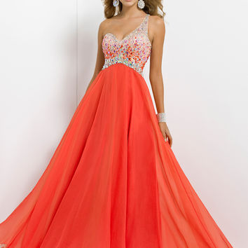 Beaded One Shoulder Empire Waist Prom Dress By Blush 9726