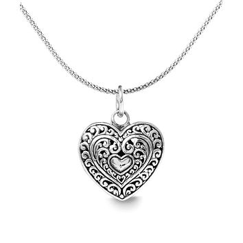 """Filigree Beating Heart Necklace in 18K White Gold Plated 18"""""""