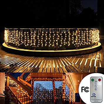 Fairy string Curtain lights 33ftx3ft 480 Leds Wall Icicle lights, 8 modes with Remote Window fairy Christmas lights,UL certificated lights for Home,Party, Outdoor, Wedding Backdrops(Warm White)