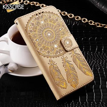 KISSCASE For Samsung Galaxy S6 Edge Plus S7 Edge Phone Case For Samsung S8 Plus Campanula Diamond Case Card Slot Wallet Cover