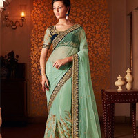Green And Blue Designer Saree