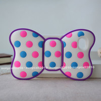 3D Cute Color Polka Dot BOW Silicone Soft Case cover FOR Apple iphone 4s 4G 4