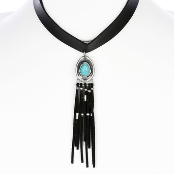 Turquoise Suede Fringe Faux Leather Choker Necklace
