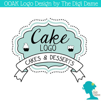 OOAK Premade Logo Design: Whimsical Cake Emblem in Duck Egg Blue/Mint Green, White and Black With Banner Ribbon and Cupcakes