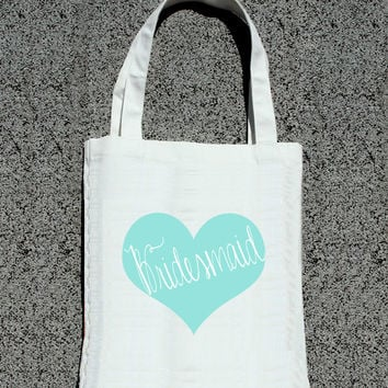 Bridesmaid Bridal Party Heart Tote- Wedding Tote Bags