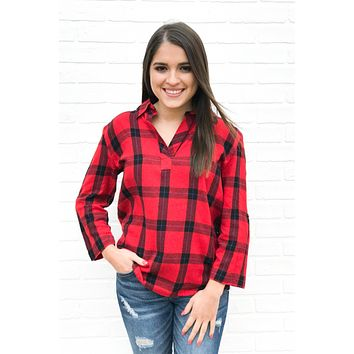 Check Mate Plaid Top - Red