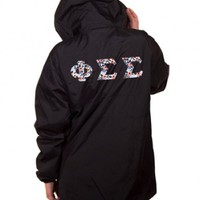 Phi Sigma Sigma Zipped Pocket Anorak with Letters + Low Price