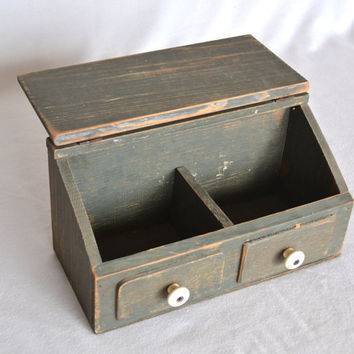 Vintage Farmhouse Distressed Wooden Double Recipe Box with Knobs