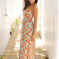 Orange/Mint Tube Dress