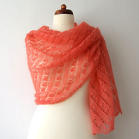 knit lace shawl bridal wrap Estonian lace stole salmon pink handknit