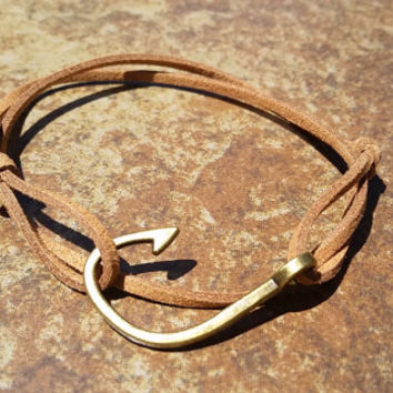 Brown Leather Bronze Fishing Hook Bracelet Anklet Charm Men Women Unisex Fashion New Love Cute Diy Friendship