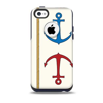 The Scratched Vintage Red Anchor Skin for the iPhone 5c OtterBox Commuter Case