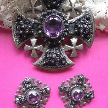 Faux Alexandrite Maltese Cross Pendant and Clip On Earrings, Jerusalem Jordan 930 Silv