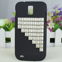 Black Hard Case Cover With Silvery Studs For Samsung Galaxy S II S 2 Hercules T989