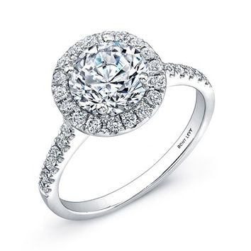 Women's Bony Levy Pave Diamond Leaf Engagement Ring Setting (Nordstrom Exclusive)