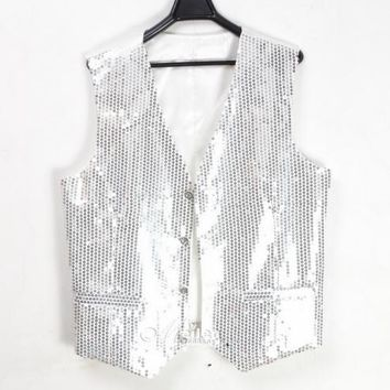 Glitter Mens Sequins Bling Vest Slim Fit Jacket Clubwear Party Bar Dress Waist Coat Suit Outwear 5Colors