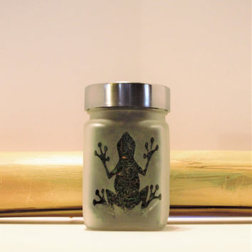 Sticky Icky Frog Etched Glass Stash Jar - Frog Gifts for Her - 420 Gift - Recreational & Medical Marijuana Stash Jars