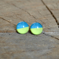 Two tone Blue and Mint Cabochon Studs - Blue Nail polish stud earrings - Unique Gift for her - Statement earrings - Colorful earrings