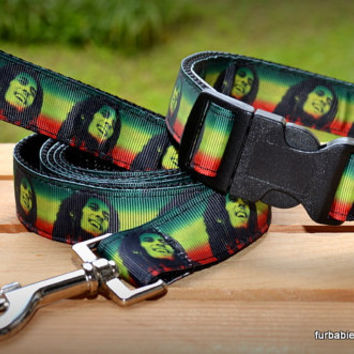 Bob Marley. Adjustable dog collar, leash, or set. Choose your size and options.