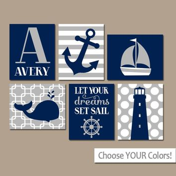 BOY Nautical Wall Art, CANVAS or Prints, Ocean Baby Nursery Decor, Coastal Blue Bedroom Pictures, Whale Anchor Sailboat Set of 6 Set Sail