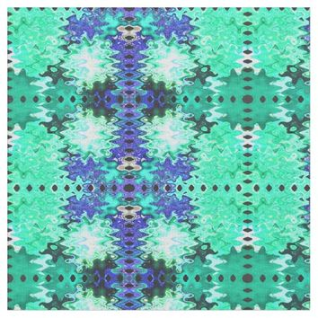 Green Blue Puff Abstract Fabric