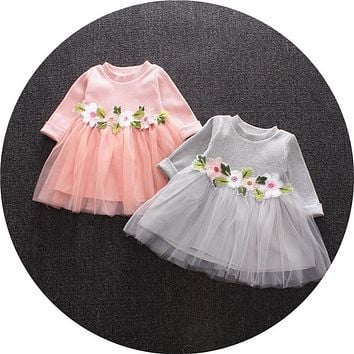 New Spring Casual babys infant girls sweet Flowers Patch mesh patchwork long sleeve princess dress Y2535