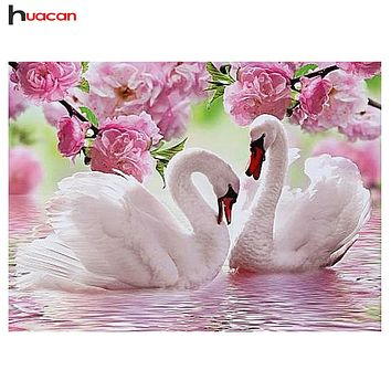 5D Diamond Painting Swans and Pink Flowers Kit