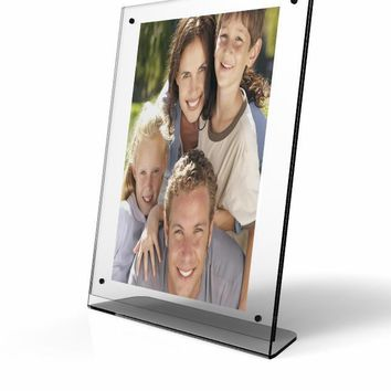 """Clear Acrylic Picture Frame, Plexiglass Desktop Sign Holder, Photo Display, Magnetic Closure 8.5x 11"""" 10770"""