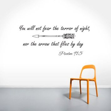 Wall Decals Quotes Psalm 91:5 Quote Bible Verse Arrows Sign Words Family Decor Wall Vinyl Decal Stickers Bedroom Murals