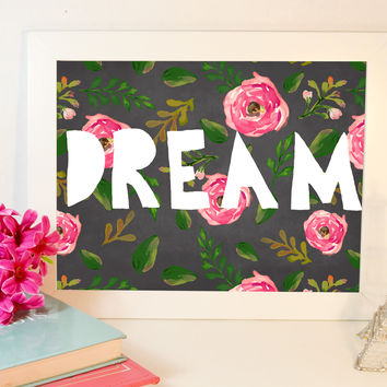 Floral DREAM Print, Instant Download