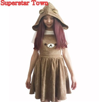 Wxcteam Character Rilakkuma Dress;cute Bear Embroidery Lolita Dress For Women Brand New