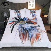 Fox by Pixie Cold Art Bedding Set Watercolor Duvet Cover With Pillowcases for Adults Tribal Animal Home Textiles 3pcs Bedclothes