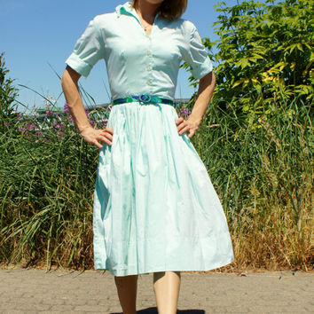 1950's Mint Green Shirt Dress