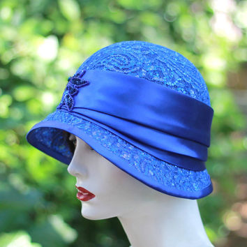 Royal Blue Great Gatsby Party Clcche Hat Encrusted with Sequins and Silver Metallic Threads