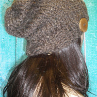 Slouchy Beanie Hat Winter Hand Knit Brown And Beige Tweed Oversized Woodsy With Wood Button