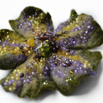 Wool Felt Flower Pin Brooch Moss Green Yellow and Purple,Green Floral Corsage Pin,Felt Brooch, Gift Idea,Handmade Art Pin,Embroidered Flower