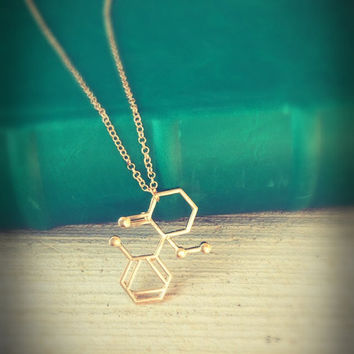 Molecule necklace,Graduation Gift,science jewelry,gift for her,Chemistry Necklace,Dopamine Necklace, geometrical Necklace