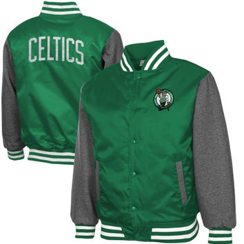 Boston Celtics Majestic Hook Full Button Satin Jacket - Kelly Green/Charcoal
