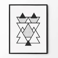 Geometric Print, Abstract Wall Art, Black and White, Wall Decor, Triangle Poster, Scandinavian, Minimalist, Nursery Wall Art