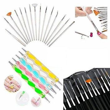ONETOW Glam Hobby 20pc Nail Art Manicure Pedicure Beauty Painting Polish Brush and Dotting Pen Tool Set for Natural, False, Acrylic and Gel Nails