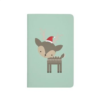 Cute Deer In Red Santa Hat Journal