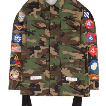 Off-White Army Green Camo White Twill Badgets Coat